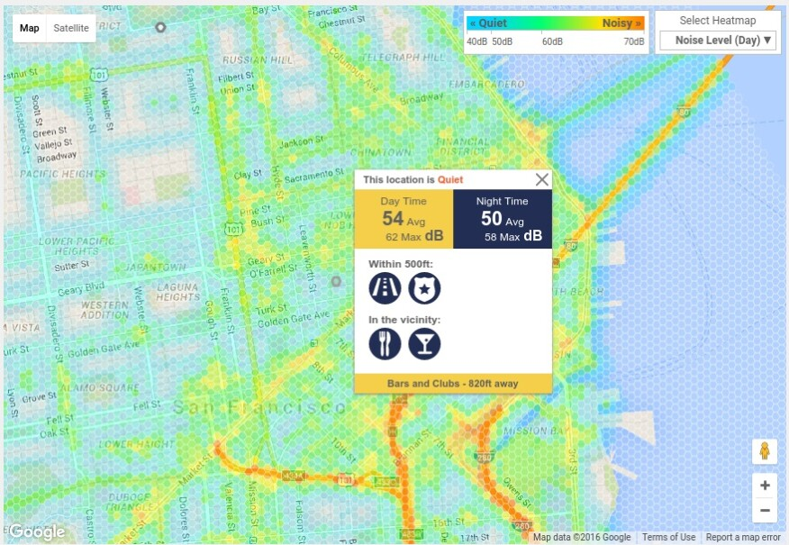 RentLingo's Noise Index app lets apartment hunters know how noisy the neighborhoods they're considering are based on aspects such as nearby restaurants and bars, public transportation, and the amount of traffic close-by roads typically receive.