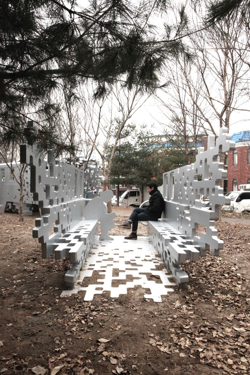 Visitors are welcomed to sit and soak in the space in Dispersion 2.