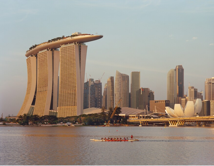 View from the water of the Marina Bay Sands in Singapore.
