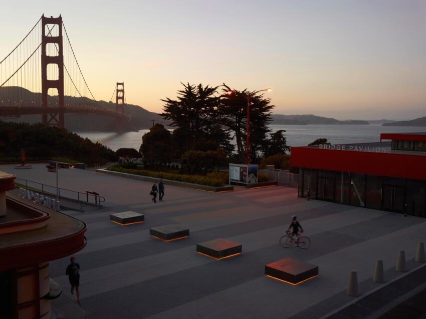 Geoff di Girolamo, James Lord, and Roderick Wyllie of Surfacedesign in San Francisco designed this new public plaza at the southern end of the Golden Gate Bridge.