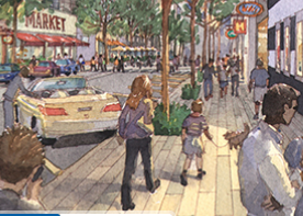 Artist rendering of a street in Candlestick Point.