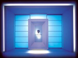 The entrance to the Lighting Academy is bathed in a blue hue at Villa La Sfacciata, which is where the Targetti Foundation is headquartered in Florence, Italy.