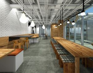 """A """"tech room"""" common area space at 1880 Mission blurs the lines between work and play."""