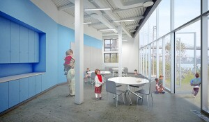 The interior of the environmental classroom in the northern section of the building will offer views of Manhattan, the East River, and the Manhattan Bridge. Rendering courtesy of Architecture Research Office