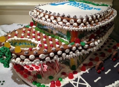 The Barclays Center in gingerbread, by Joyce Bakeshop in Brooklyn, N.Y.