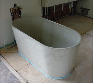 Ryan Brayak used his special mix to precast this thin wall bathtub.