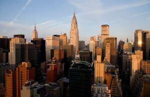 The sun rises on New York City