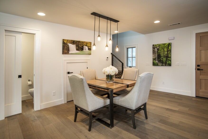 Wood finishes are prominently used inside the homes.