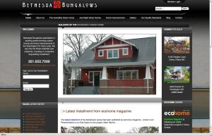 Visitors to Bethesda Bungalows' home page are greeted with a scrolling gallery of project images, along with plentiful-yet-simple navigation options, news, and virtual tours.