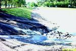 A newly constructed inlet and dissipater in Anderson Pond handles stormwater runoff from Anderson Road.