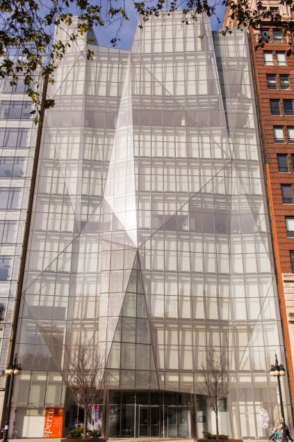 The building's folded glass façade as viewed from Michigan Avenue.