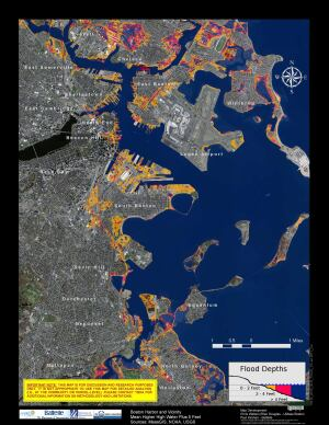 Had Sandy struck Boston at high tide, areas in yellow and red in the map at top would have flooded, reports the Boston Harbor Association.