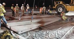 Precast concrete pavement panels--which are prestressed prior to delivery and then post-tensioned once they are set in place--are gaining attention because they can be installed at night and vehicles can drive on the road in the morning.