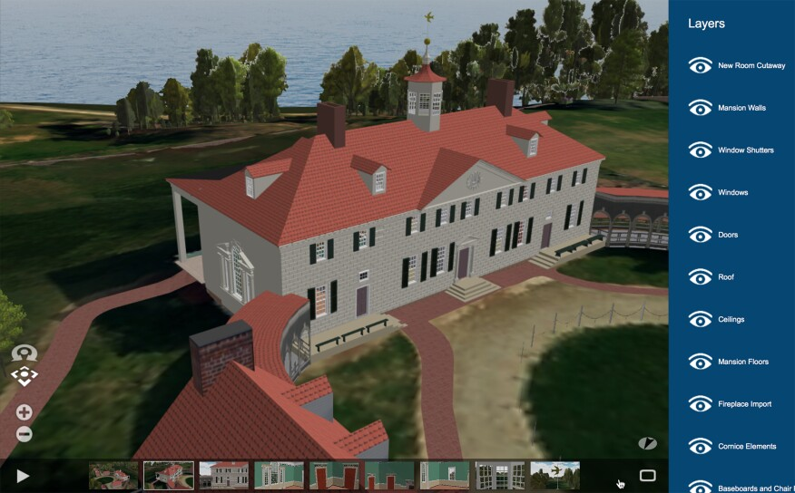 A screenshot of Mount Vernon from the site's new HBIM