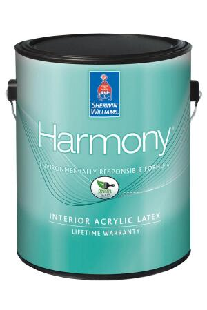 SHERWIN-WILLIAMS. Harmony Flat, Eg-Shel, Semi-Gloss, and Primer are low-odor, zero-VOC acrylic latex paints. They come in 1- and 5-gallon sizes, covering approximately 400 square feet per gallon. The Harmony line is available in more than 1,500 colors, but the company's colorants contain VOCs, so choosing a lighter tint will keep overall VOC levels lower. Harmony is Greenguard Children & Schools certified and listed in the CHPS High Performance Products Database. 800.474.3794. www.sherwin-williams.com.