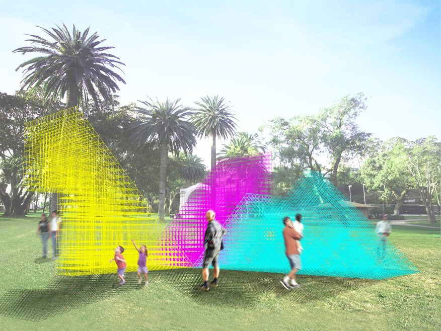 """Runaway"" is Sports' winning entry for a public art pavilion that will host the Museum of Contemporary Art Santa Barbara's 2017 ""Takepart 