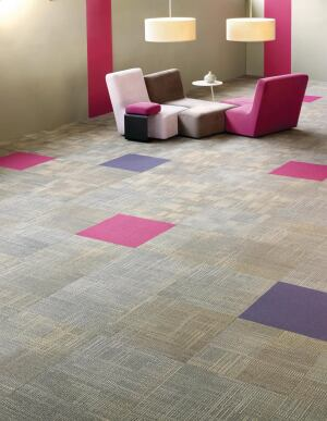 Shaw Contract Groups new line of modular carpet, No Rules, is available in three patterns: Byline, a medium-scale geometric block pattern; Linage (shown above), a medium-scale pattern with intersecting lines; and Link, a medium- to large-scale organic oval pattern. Each pattern has 12 color options. The line features EcoWorx tile backing. ¢ shawcontractgroup.com