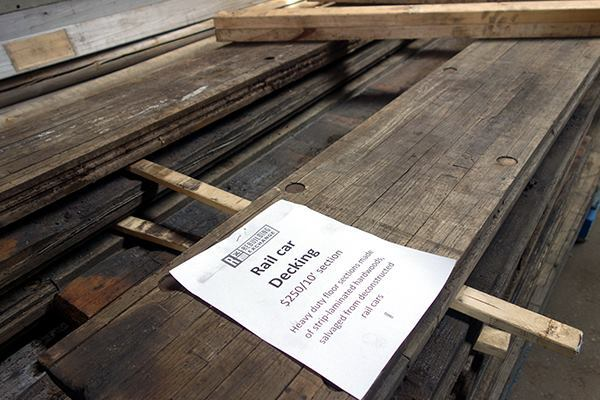 The Rebuilding Exchange sources lumber from salvagers who pull the material from a variety of places, including decommissioned train cars (shown).