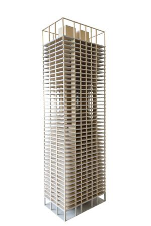 SOM associate and engineer Benton Johnson estimates that a 42-story timber tower would be 55 percent lighter and emit 78 percent less carbon than its concrete-tube constructed counterpart.