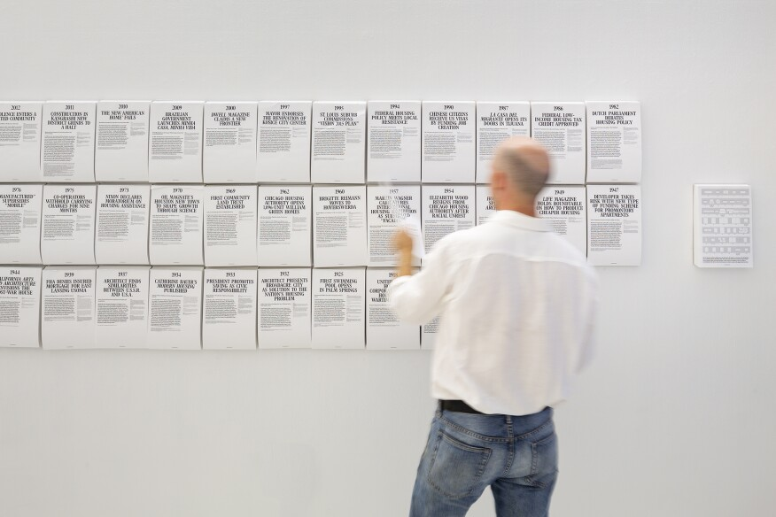 Tearsheets at the exhibition, designed by New York-based studio MTWTF