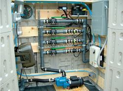Compact blending systems are stand-alone units that serve multiple functions, such as blending winter liquids, or loading and unloading truck liquid systems. The pictured system above (external view is below) costs $12,000 versus multipump systems requiring buildings and extensive plumbing systems, which can exceed $30,000. To get started, consult an organization that specializes in onsite blending training and development. Staff can be trained to blend winter liquids in as little as half a day. Photos: Harvey Williams