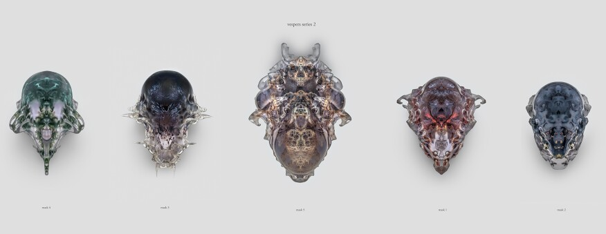 Left to right: Masks 4, 3, 5, 1, and 2 in the Present series, Vespers collection. Designed by Neri Oxman and members of the Mediated Matter Group and 3D printed by Stratasys.