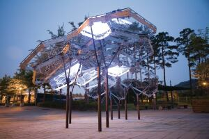 The Living Light pavilion in Seoul, South Korea, was designed in the shape of a city map. Individual neighborhoods light up depending on air quality.