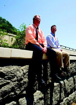 Project managers Robert Lynch of KCI Technologies Inc. (left) and Jeff Robert  of the Maryland State Highway Administration worked closely with residents  to transform the 1200-foot-long College Creek Bridge into an architectural  gateway to state capital Annapolis, Md. To read more about this project, turn  to page 30. Photo: David Holloway / Getty Images