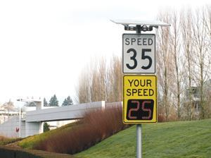 Studies show that adjusting speeds by as little as 2 to 5 mph may save lives in pedestrian-related accidents. Photos: Information Display Co.