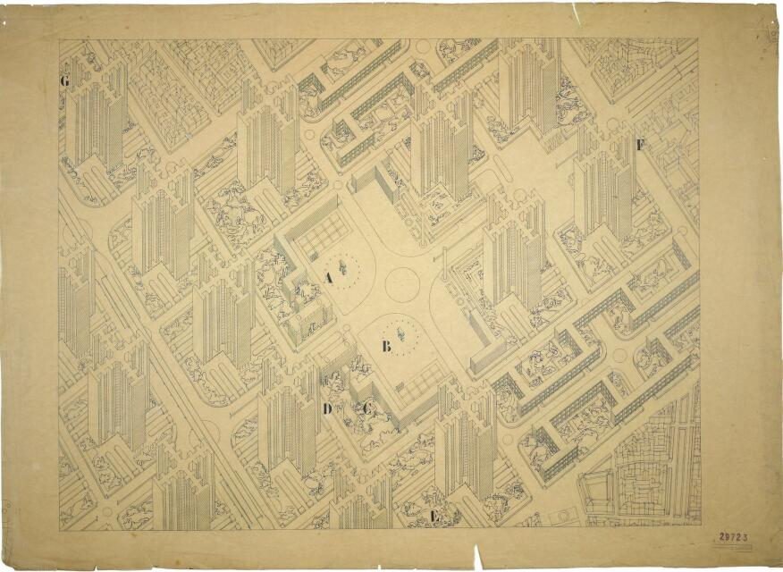 Le Corbusier's iconic ink-and-pencil-on-paper, axonometric view of his Plan Voisin for Paris (1925).