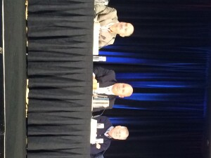 From left, Tony Bertoldi of City Real Estate Advisors, Todd Crow of PNC Real Estate, and Joe Hagan of the National Equity Fund take part in the Tax Credit Equity Outlook Power Panel at AHF Live.
