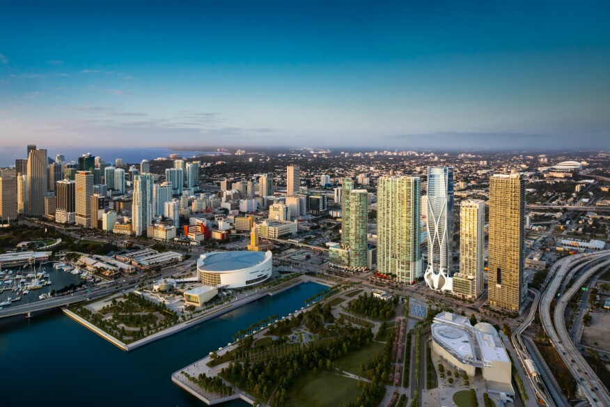 Downtown Miami Skyline featuring the One Museum condominium development adjacent to Miami Art and Science Museums.