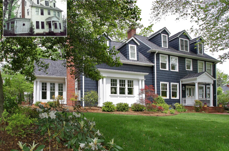 Front elevation of existing home (inset) and the renovation to a 1923 Colonial in Bethesda, Md.