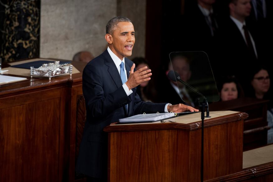 President Barack Obama delivers his State of the Union address in the Capitol's House chamber on Jan. 20, 2015.