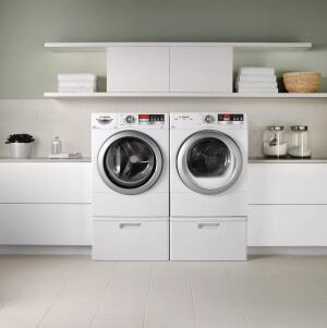 Bosch. The Vision line of full-size (3.31-cubic-foot) laundry equipment is rated to use 13 gallons of water per load, achieving an MEF of 2.52 and a WF of 4.5 (both 40% better than 2009 thresholds). EcoSmart sensors and intelligent controls continuously analyze the wash cycle and automatically adjust the water level, temperature, and suds level. The steam-option dryer's EcoSensor measures the moisture level of the clothes and adjusts cycle length and heat level automatically. 800.944.2904.  www.boschappliances.com.
