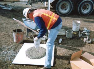 Slump flow, a test that is often performed with an upside down cone, measures SCC's flowability.