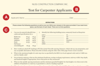 A Test for Assessing Skill Levels of Carpenter Job Candidates