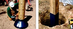 Bigfoot bell footings (left), add stability to concrete footings, while MFM's Post & Pole protects wood posts from moisture and insect degradation.
