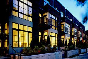 URBAN CHIC: In addition to simply exemplifying great attached design, Johnson Street Townhomes (below) in the revitalized Pearl District of downtown Portland, Ore., the Project of the Year in 2000, targeted an emerging market of empty-nesters, singles, and childless couples looking to get in on the fun of new urban vibrancy. The low-density, 13-unit infill project sits smack-dab in an eclectic, mixed-use redevelopment, with an exterior design reminiscent of the district's industrial roots.