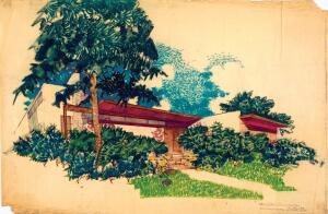 EXHIBIT    Famous for the architecture he designed, Richard Neutra also made art of what he saw, documenting the world around him with pen, pencil, and watercolor brush from the time he was an itinerant student in 1913 until his death in 1970. The Central Library in Los Angeles presents an exhibition of a lifetime's worth of the architect's travel sketches, figure drawings, and building renderings including the Heller House (above), from 1950. Through Sept. 6.  lapl.org