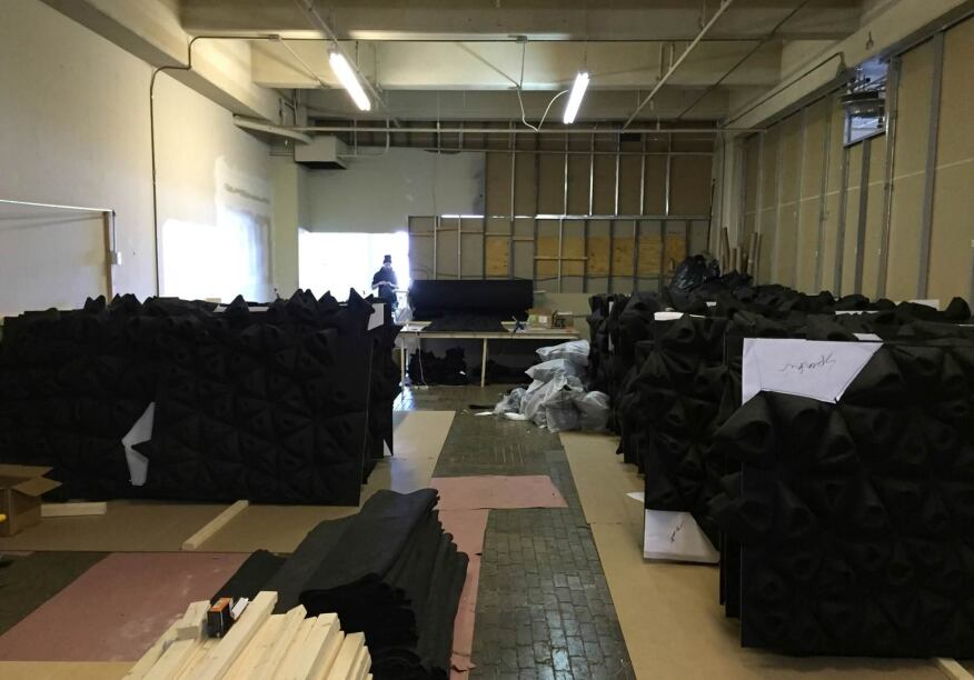 Approximately 16,000 square feet of black felt were used to make the cones.