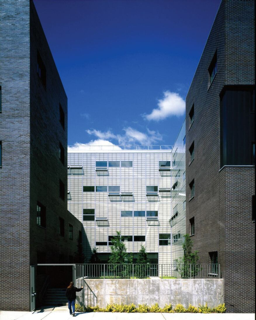 A view between two of the residential volumes affords views to the academic bar building beyond.