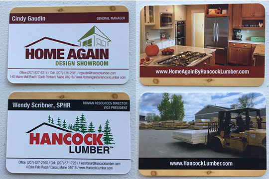 Front and back views of business cards at Hancock Lumber in Maine