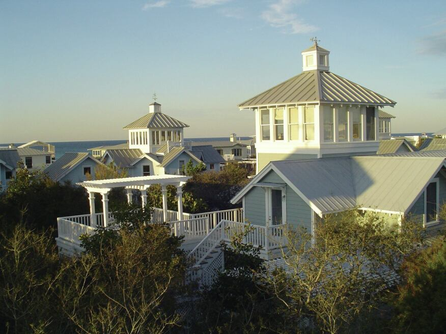 A view of the tower houses of Seaside, Fla.