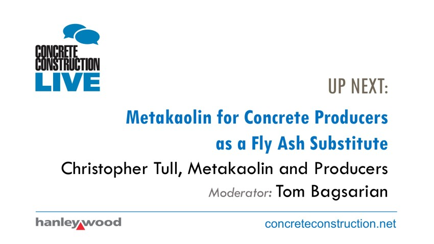 Metakaolin for Concrete Producers as a Fly Ash Substitute