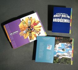 Measuring just 5 by 7 inches, BridgeMill's pocket-sized activity guide features colored tabbed sections, vibrant photos, and minimal text that encourages residents to enjoy the community's many amenities and events.