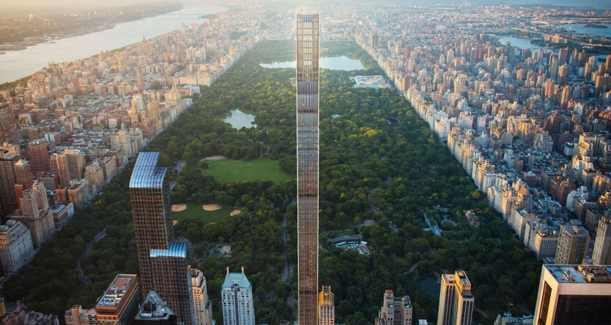 An aerial rendering of SHoP's West 57th Street supertall