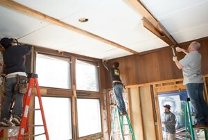 2 – Prep the CeilingThe existing drywall or plaster can be removed or left in place. On this job, removing the ceiling allowed the finished beams to sit higher off of the floor. Removing the ceiling also simplifies the rough wiring, as it need not be fished through the drywall.