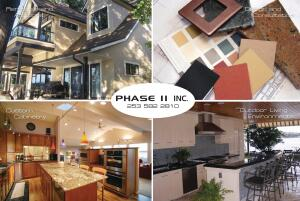 This advertisement promotes the companyís work in custom remodeling, interior design, cabinetry, and outdoor living.