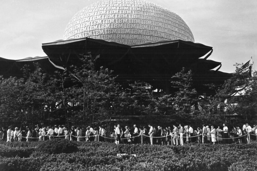IBM pavilion at the  New York World's Fair, 1964. IBM logo and graphic identity designed by Paul Rand.
